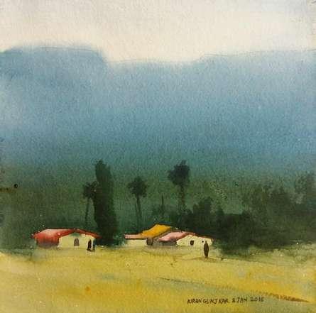 Village Under Mountains | Painting by artist Kiran Gunjkar | watercolor | Handmade Paper