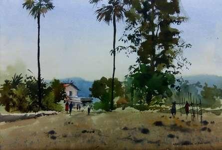 Landscape Watercolor Art Painting title 'Village Routs' by artist Kiran Gunjkar