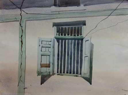 Landscape Watercolor Art Painting title 'Window Of a Wall' by artist Kiran Gunjkar