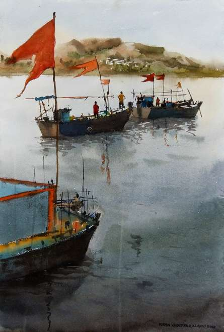 Boats | Painting by artist Kiran Gunjkar | watercolor | Handmade Paper