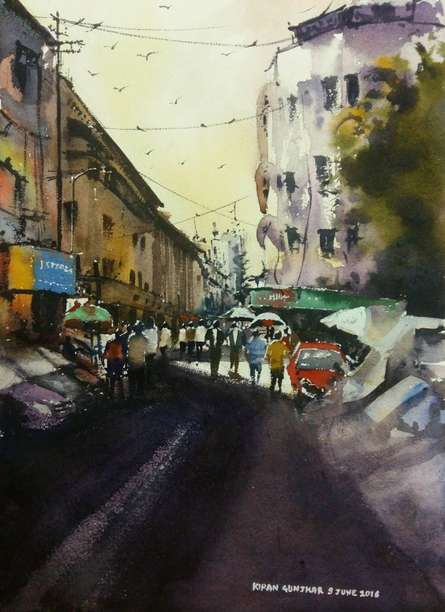 Kiran Gunjkar Paintings | Watercolor Painting - Cst ( Bora Bazar ) by artist Kiran Gunjkar | ArtZolo.com