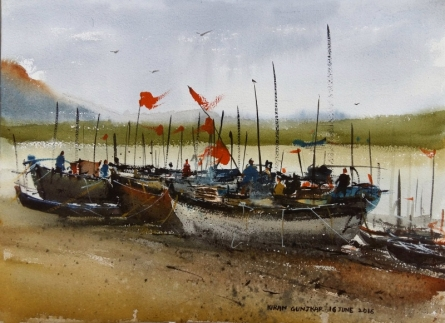 Landscape Watercolor Art Painting title Boats by artist Kiran Gunjkar