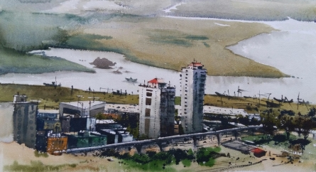 Landscape Watercolor Art Painting title 'Modern City' by artist Kiran Gunjkar