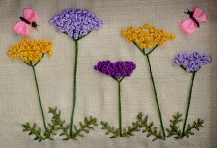 Mohna Paranjape | Butterflies In A Yarrow Garden Mixed media by artist Mohna Paranjape on Cloth | ArtZolo.com