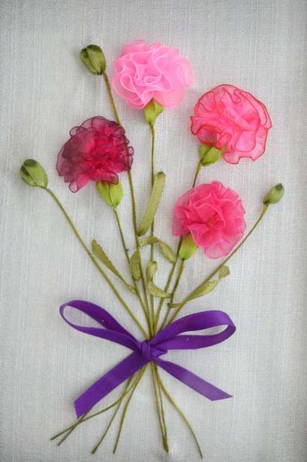 Carnations | Mixed_media by artist Mohna Paranjape | Cloth