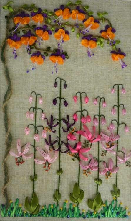 Mohna Paranjape | Fuchsia Martagon Lily Garden Garden Mixed media by artist Mohna Paranjape on Cloth | ArtZolo.com