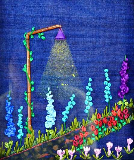 Mixed Media Painting titled 'Garden At Night' by artist Mohna Paranjape on Cloth