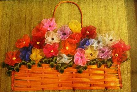 Mixed Media Painting titled 'Ribbon Basket with Gathered Flowers' by artist Mohna Paranjape on Cloth
