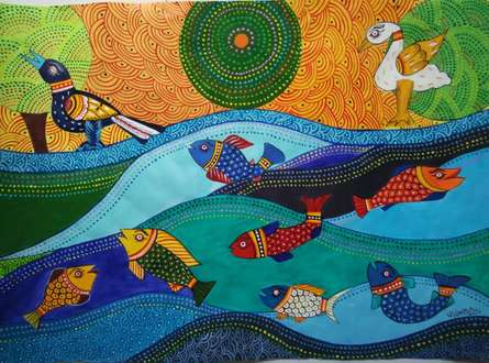 Tribal Art Series-fish | Painting by artist Ujwala Chavan | acrylic | paper