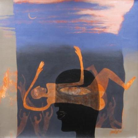 Figurative Acrylic Art Painting title 'Bid Adieu' by artist Pradip Kumar Sau