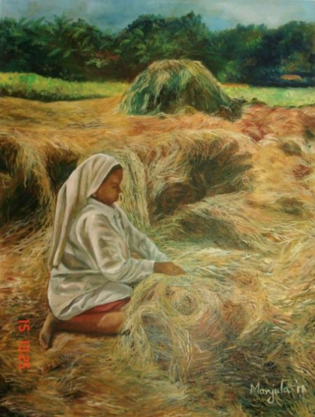 Landscape Oil Art Painting title A Farm Scene by artist Manjula Dubey