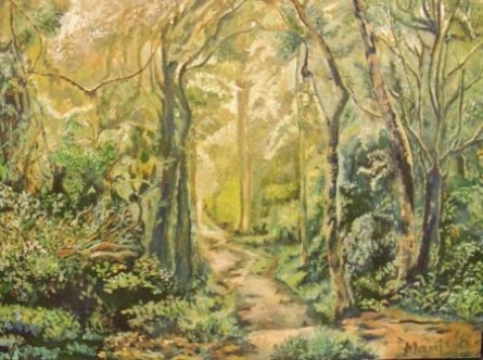 Landscape Oil Art Painting title 'A Tropical Forest' by artist Manjula Dubey