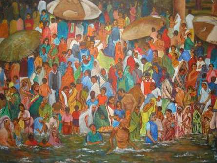 Manjula Dubey | Acrylic Painting title Ganga Bathing Ghats on Canvas | Artist Manjula Dubey Gallery | ArtZolo.com