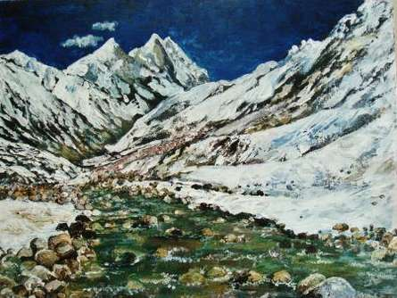 Ganga - Mountain River | Painting by artist Manjula Dubey | acrylic | Canvas