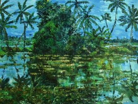 Manjula Dubey | Acrylic Painting title Monsoon Glory 2 on Canvas | Artist Manjula Dubey Gallery | ArtZolo.com