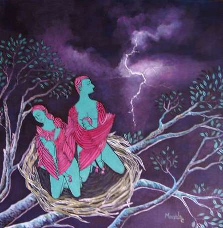 Figurative Acrylic Art Painting title Angel Nest by artist Manjula Dubey