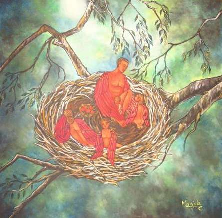 Manjula Dubey | Acrylic Painting title Home Nest on Canvas | Artist Manjula Dubey Gallery | ArtZolo.com