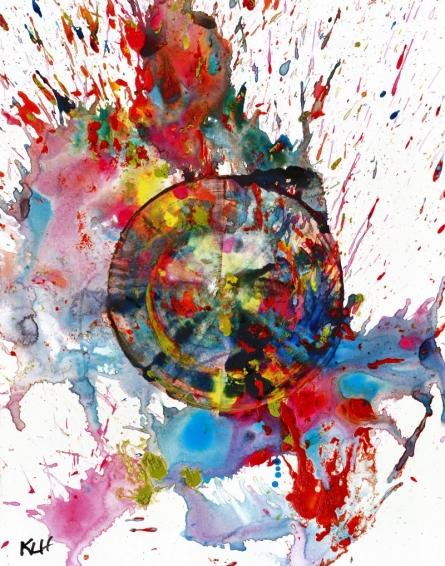 Color Splash III | Painting by artist Kris Haas | tempera | Paper