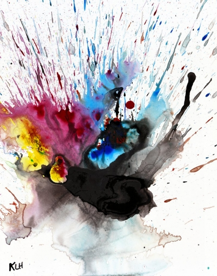 Abstract Watercolor Art Painting title 'Color Splash V' by artist Kris Haas