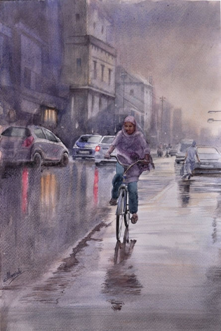 Malviya Road | Painting by artist Manish Sharma | watercolor | Paper