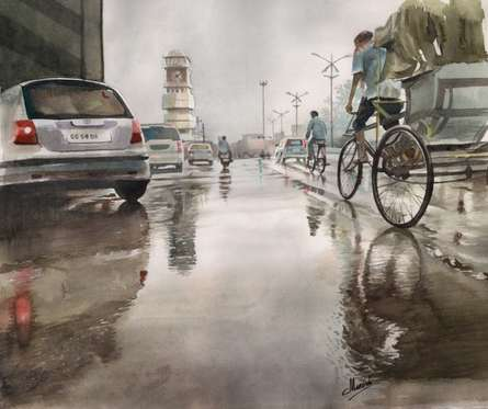 Ghari Chowk 60   Painting by artist Manish Sharma   watercolor   artwork