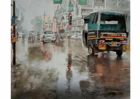 Manish Sharma | Watercolor Painting title Jaistambh chowk on Paper | Artist Manish Sharma Gallery | ArtZolo.com