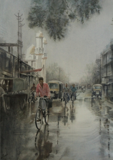 Moudhapara | Painting by artist Manish Sharma | watercolor | Paper