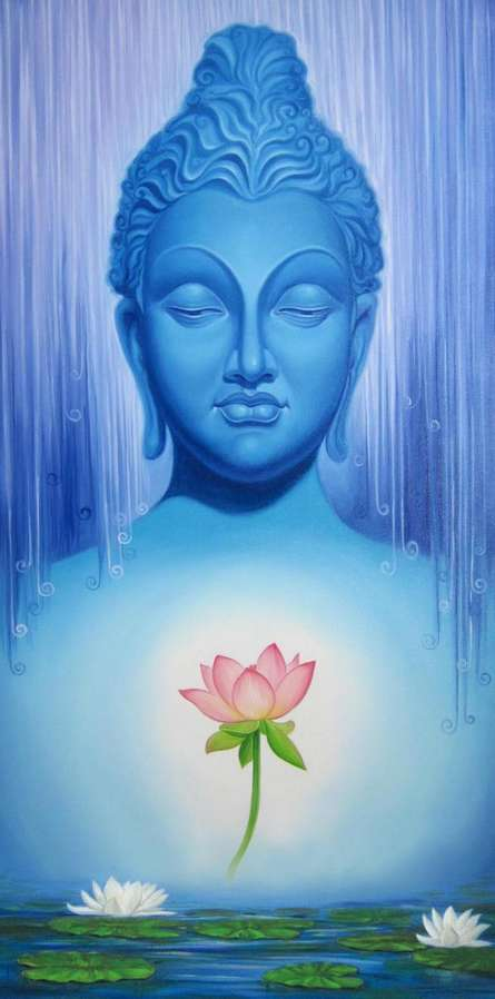 Motivational Oil Art Painting title 'Buddha 1' by artist Baburao (amit) Awate