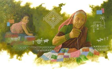 Photorealistic Oil Art Painting title 'My Grandmother' by artist Baburao (amit) Awate
