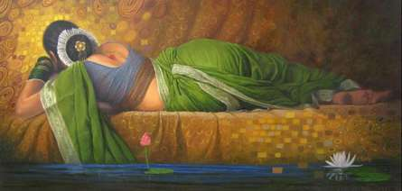 Baburao (amit) Awate | Oil Painting title Marathi Woman on Canvas | Artist Baburao (amit) Awate Gallery | ArtZolo.com
