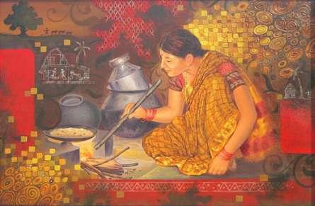 Photorealistic Acrylic Art Painting title Pakakala by artist Baburao (amit) Awate
