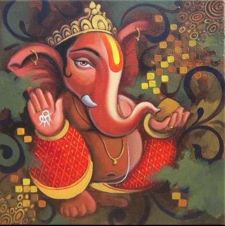Motivational Acrylic Art Painting title Ganesh 1 by artist Baburao (amit) Awate