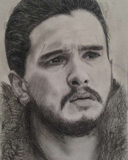 Portrait Charcoal Art Drawing title 'Jon Snow' by artist Joanne Morais