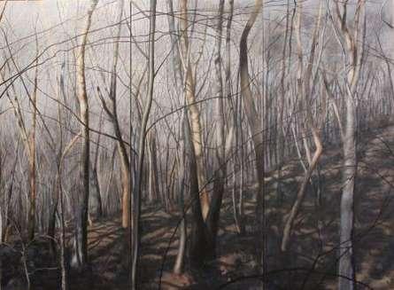 Landscape Acrylic Art Painting title 'Pole Steeple Trail Side' by artist John Firestone