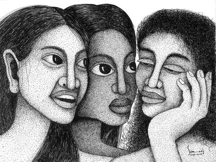 Pen Paintings | Drawing title 3 Women on Paper | Artist Sanooj KJ