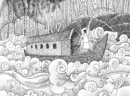 Figurative Pen Art Drawing title Backwater by artist Sanooj KJ