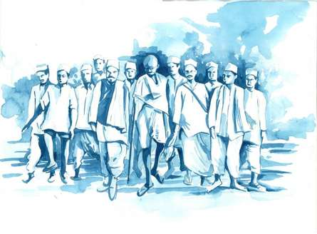 Dandi Yatra | Painting by artist Sanooj KJ | watercolor | Paper