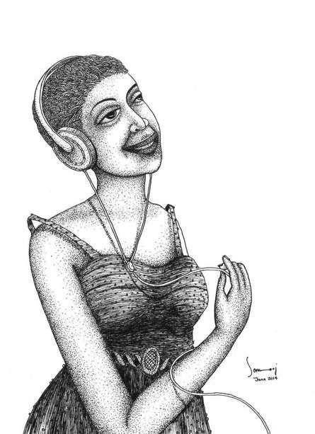 Listening Music | Drawing by artist Sanooj KJ |  | pen | Paper