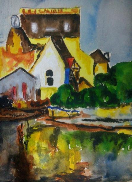 Countryside   Painting by artist Priyanjali Bhattacharya   watercolor   Handmade Paper