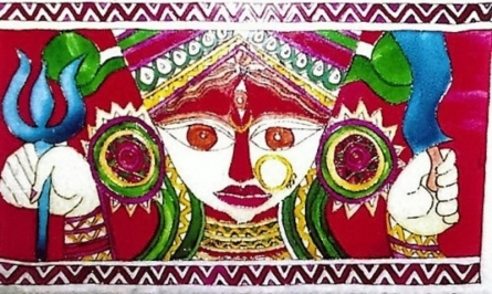 Durga | Glass art by artist Jugnu Manhas