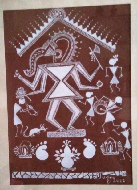Warli1 - Ganesha | Traditional art by artist Jugnu Manhas | Folk Art | Paper