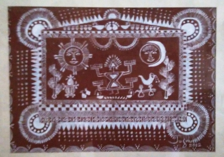 Warli2 - Mother Goddess | Traditional art by artist Jugnu Manhas | Folk Art | Paper