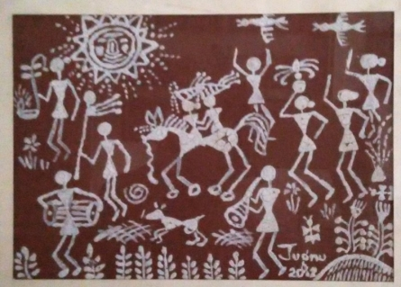 Warli3 - Tribal Wedding | Traditional art by artist Jugnu Manhas | Folk Art | Paper