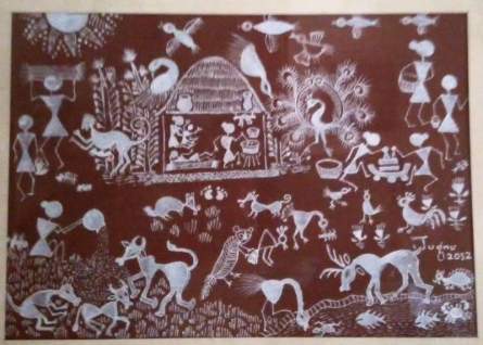Warli4 - Symbiosis | Traditional art by artist Jugnu Manhas | Folk Art | Paper