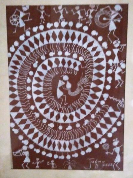 Warli5- Taadpa   Traditional art by artist Jugnu Manhas   Folk Art   Paper