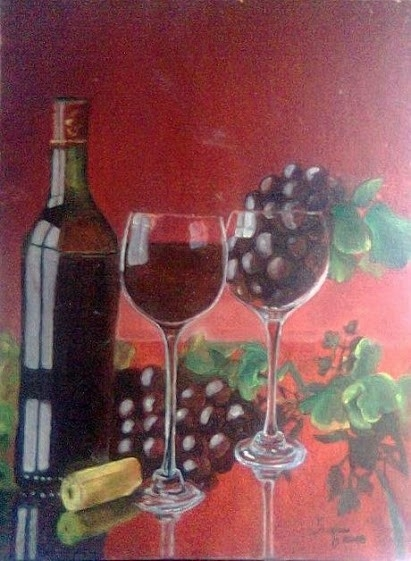 Wine Is The Answer . What Was Your Quest | Painting by artist Jugnu Manhas | oil | Canvas Board
