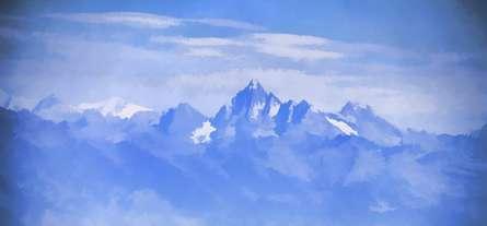 Blue Mountain Peaks   Digital_art by artist Ashwin Rajaraman   Art print on Canvas