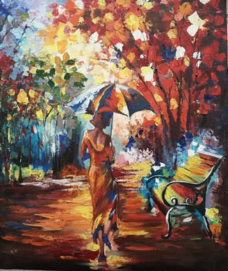 Spring Walk | Painting by artist Sushree Satapathy | acrylic | Canvas Board