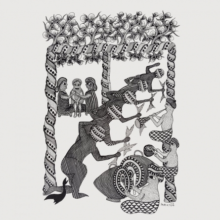 Traditional Indian art title Tribal Wedding Gond Art on Paper - Gond Paintings