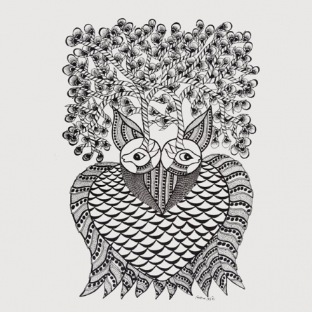Folk Art Mixed-media Art Painting title Haunting Owl Gond Art by artist Kishan Uikey